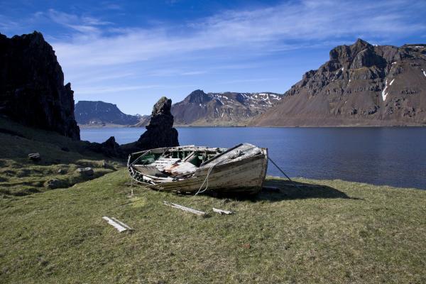 Strandir, vestfirðir, bátur, rekaviður