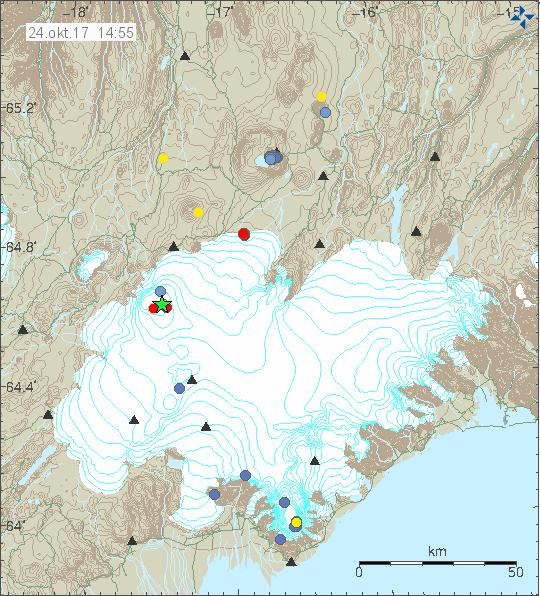 Bárðarbunga seismic activity 24.10.17