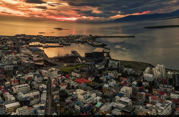 Downtown Reykjavík, aerial photo