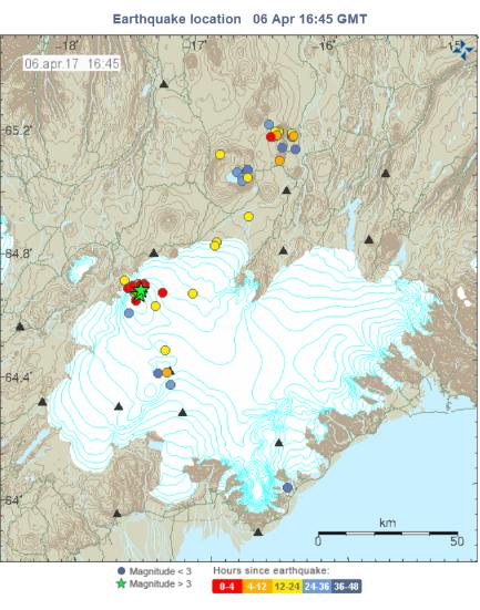 Earthqiuakes in Bárðarbunga 6.4.17
