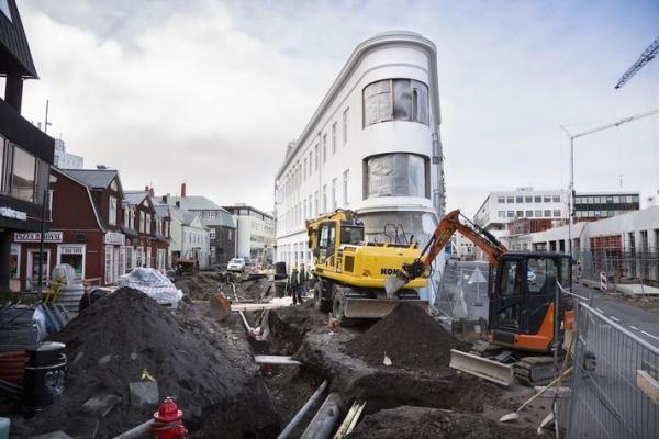 Hafnarstræti-Geirsgata downtown Reykjavík construction