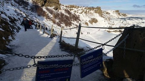 Closed walking path Gullfoss