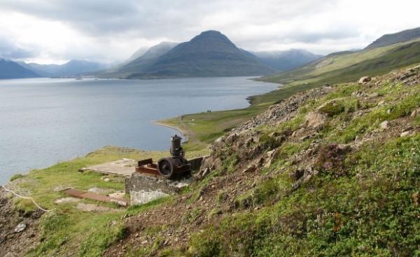 HELGUSTAÐANÁMA MINE, Reyðarfjörður fjord and Eskifjörður fjord