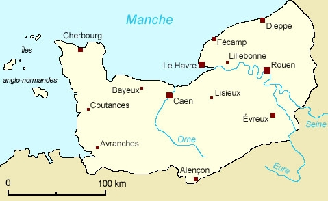 Historical boundary of Normandy
