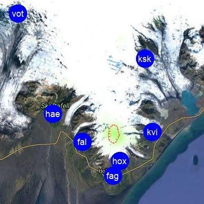 Öræfajökull glacier seismic monitoring stations