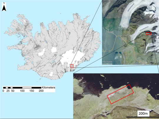 Svínafellsjökull, Svínafell, Catastrophic mountain collapse