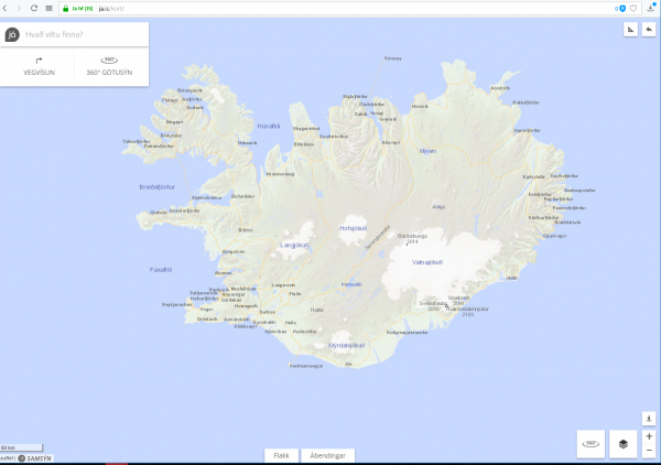 Online maps of Iceland, ja.is