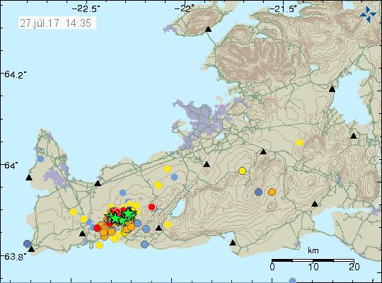 Earthquakes Reykjanes 26.7