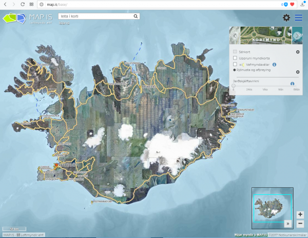 Online maps of Iceland, map.is