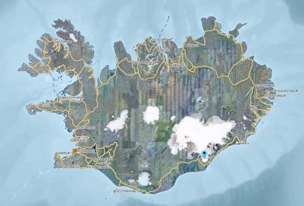 öræfajökull location
