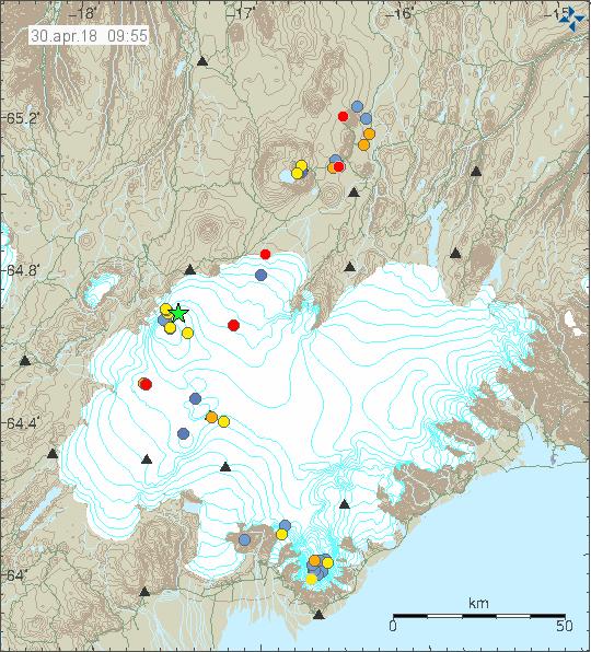 Vatnajökull quakes 30.4.18