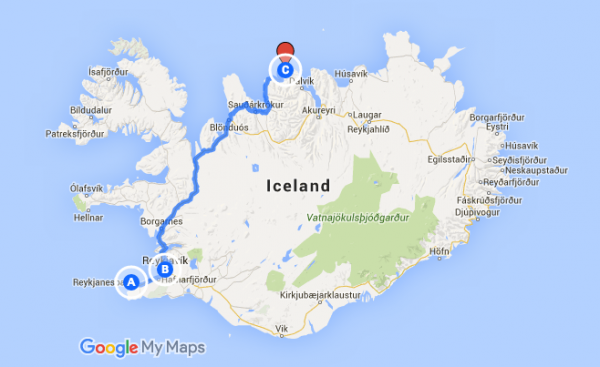 Entered an extra r in his GPS location ended up in North Iceland