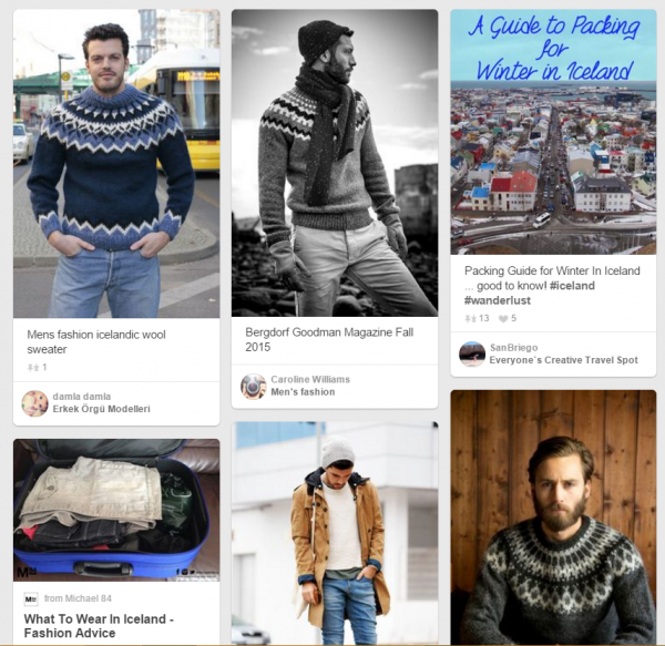 Iceland and men's fashion on Pintrest