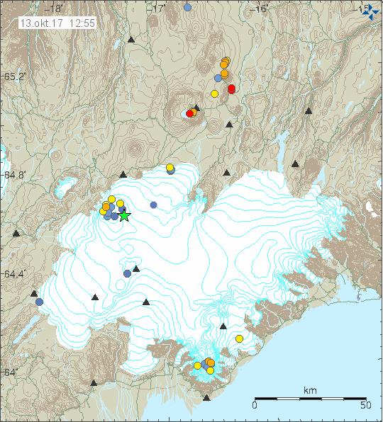 Quakes in Bárðarbunga 13 oct 2017