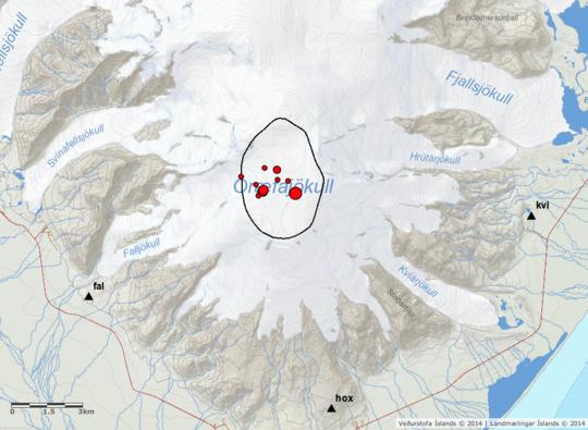 Öræfajökull quakes, 9.feb18