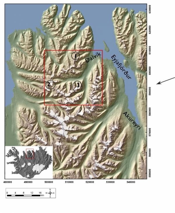 Tröllaskagi glaciers, 1-Deildarjökull 2-Teigarjökull, Búrfellsjökull 3-Svarfaðardalur