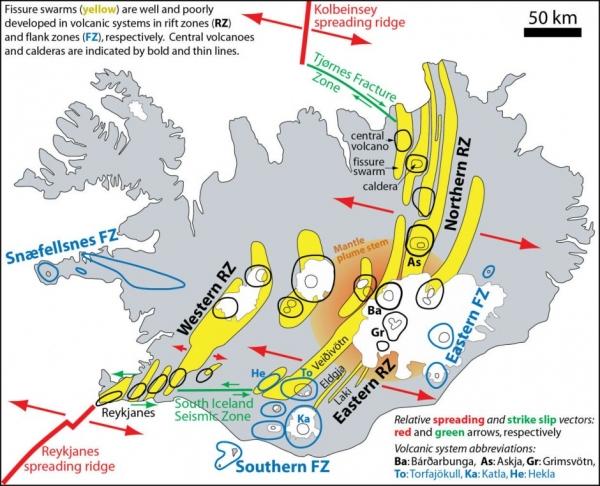 Icelandic geology, fracture zones, seismic activity
