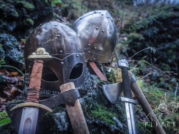 Viking helmets, swords