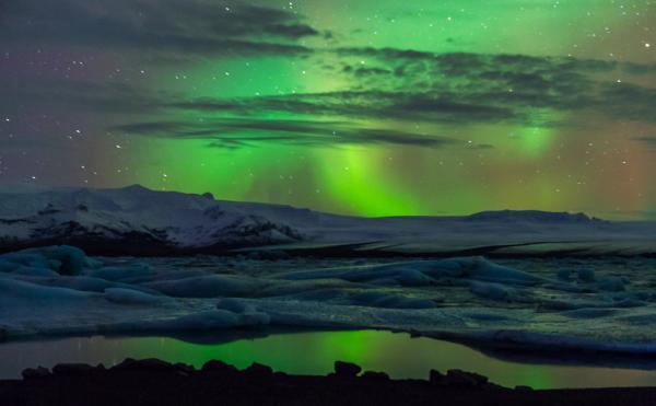 Norðurljós, northern lights, aurora, breiðamerkurjökull