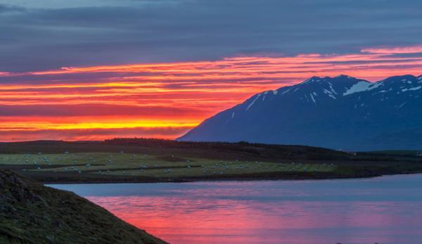 Eyjafjörður, Norðurland, miðnætursól, midnight sun