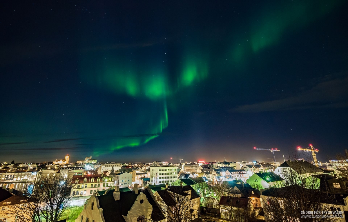 The Northern Lights Capital Local Photographer Snorri Þór Tryggvason  Captured This Great Shot Of The Aurora Over Downtown Reykjavík Last Winter.