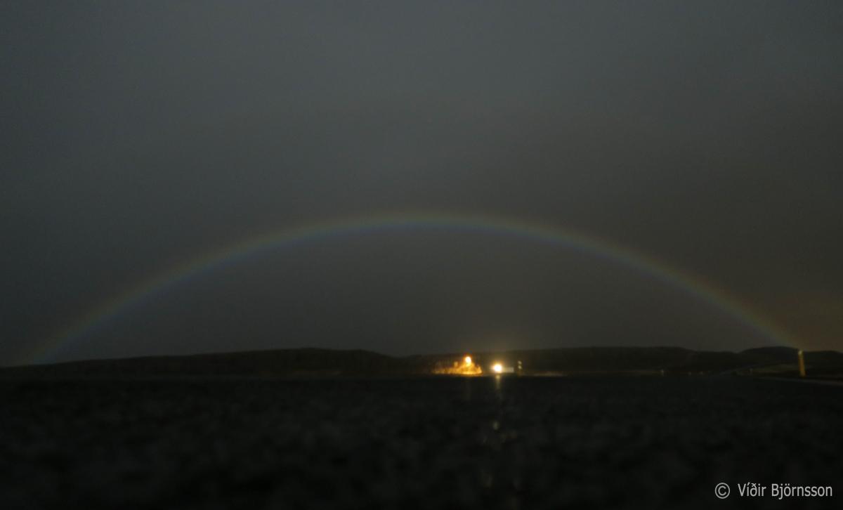 A rare double lunar rainbow seen by stykkish lmur town in for Food bar rainbow moon